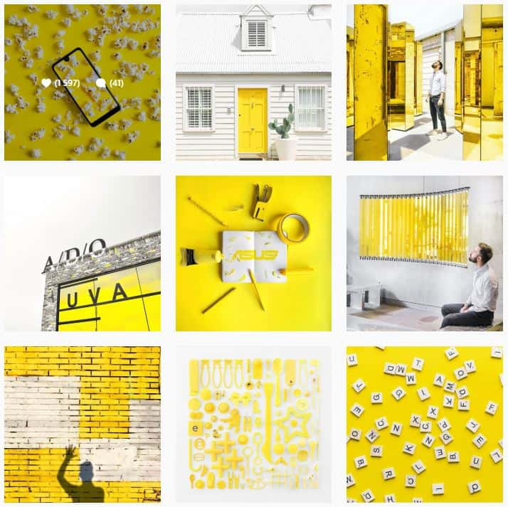 yellow Instagram feed