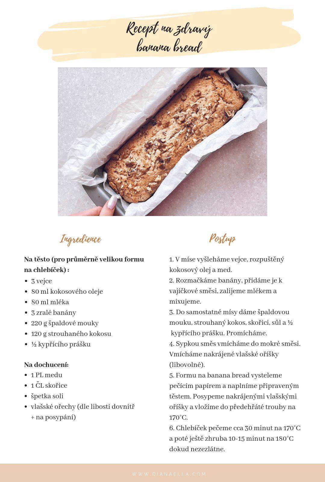 Recept na zdravý banana bread