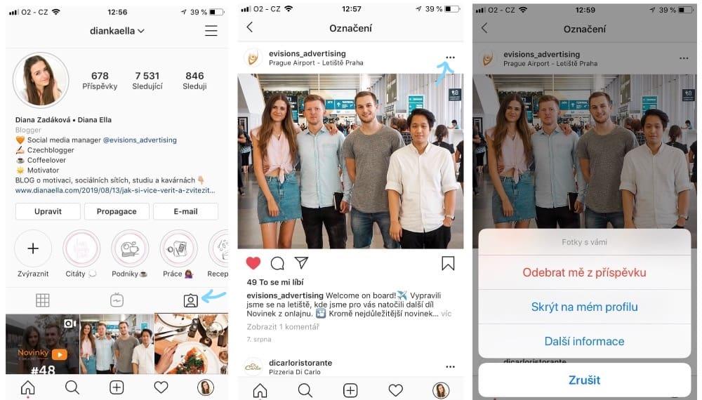 Jak skrýt označení na fotce na Instagramu
