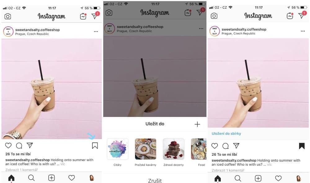 Jak ukládat Instagram příspěvky do sbírky?