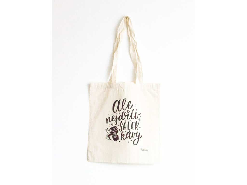 plátěná taška s motivem kávy
